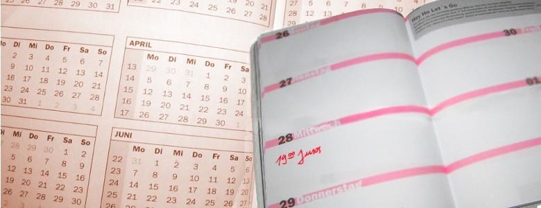 Kalender, in den mittwochs