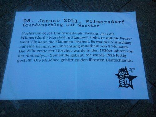 Text zum Brandanschlag auf die Wilmersdorfer Moschee am 08. Januar