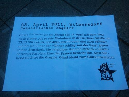 Text zum rassistischen Angriff am 23. April in Wilmersdorf