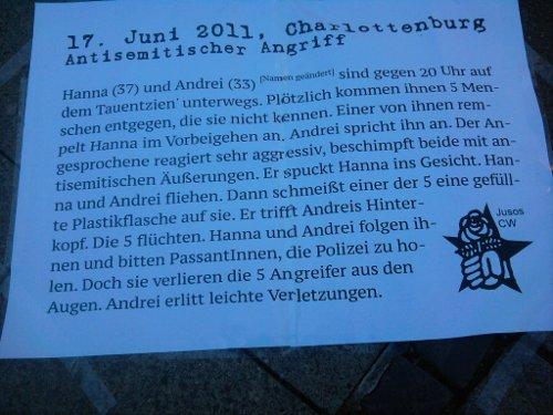 Text zum antisemitischen Angriff am 17. Juni in Charlottenburg