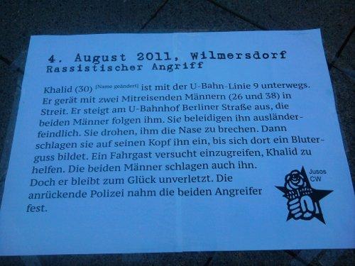 Ausführlicher Text zum rassistischen Übergriff am 4. August in Wilmersdorf